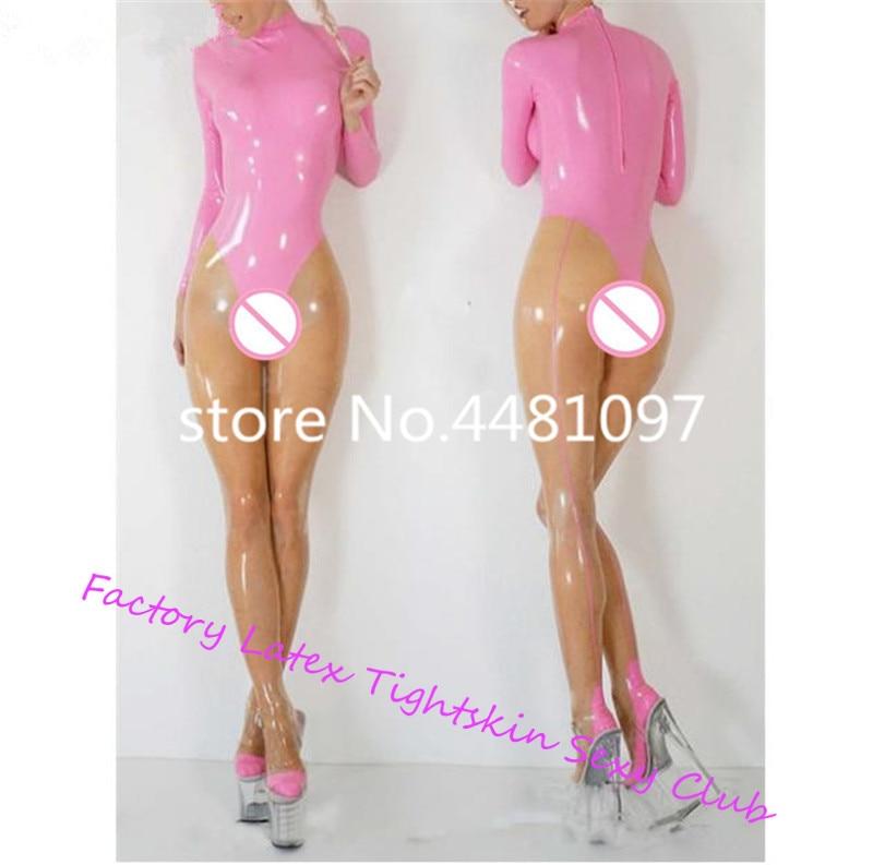 Sexy femmes Transparent et rose en caoutchouc Latex Catsuit avec chaussettes dos Zipper Latex body Zentai body sur mesure