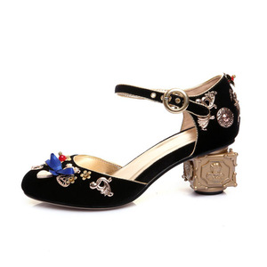 Image 2 - Phoentin blue velvet mary jane shoes flowers heart shaped decoration strange metal heels butterfly knot buckle pumps shoes FT268