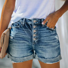 Hohe Taille Crimpen Frauen Kurze Jeans Sommer Mode sexy Ripped Denim Shorts Neue Casual Push-Up Vintage Denim Shorts Streetwear