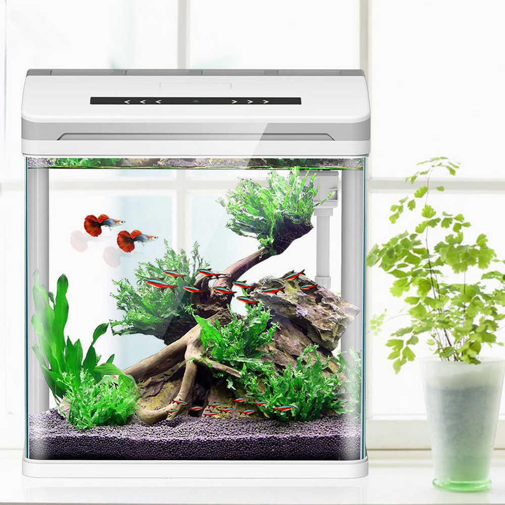 Mini Smart Aquarium Betta Fisch Aquarium Kreative Faul Desktop Aquarium Hause Selbst-zirkulierenden Glas Bringen Wasser-freies fütterung Box