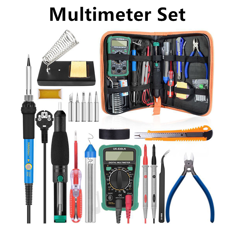 Temperature Electric Soldering Iron Kit 110V 220V 60W Soldering Iron Kit With Multimeter Pump Welding Tool Pyrography Tool
