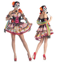 New Adults Day of The Dead Costumes Flower Sugar Skull Witch Senorita Dress Halloween Costumes For Women Mexican Halloween Dress