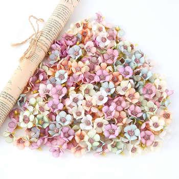 Decoración de boda de 2cm 100 Uds., Mini seda de flor de Margarita Artificial, cabezas para tocado, para el hogar guirnalda, decoración DIY para álbum de recortes