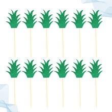 48 pçs folha de abacaxi verde bolo toppers picaretas de bolo de papel cupcake inserir cartão decoração festa suprimentos para o festival de aniversário