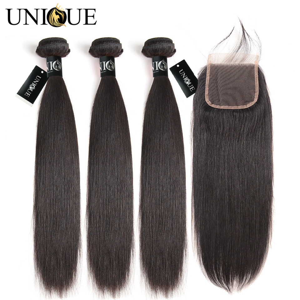 Straight Hair Bundles With Closure 100% Human Hair 3 Bundles With Closure Unique Hair Peruvian Hair Bundles With Closure