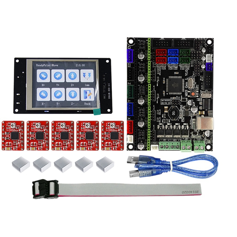 PPYY NEW  Tft32 Full Color Lcd Press Screen + Mks Gen L Mainboard with 5Pcs Red A4988 Driver 3D Printer Controller Board Kit 3D Printer Parts & Accessories    - title=