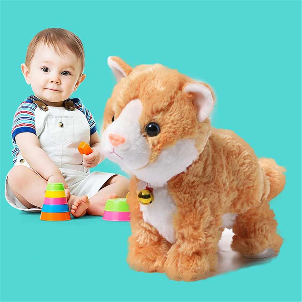 Plush Electronic Cat Stand Walk Sound Control Interactive Robot Cat Kids Toy Gifts H0926