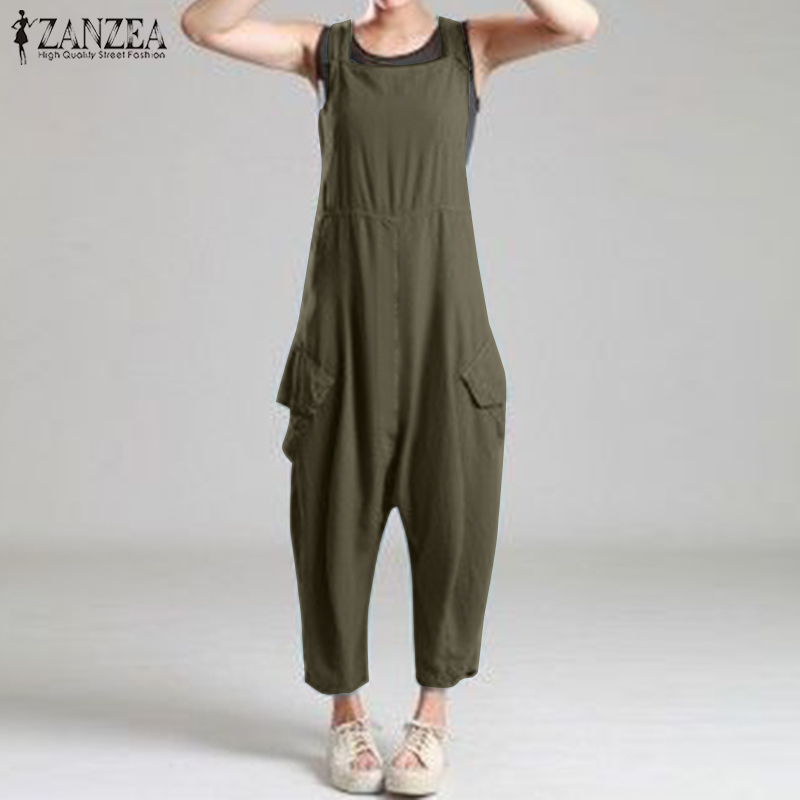 2020 Summer Solid Drop Crotch Jumpsuits ZANZEA Casual Sleeveless Rompers Women Work Loose Overalls Suspenders Harem Pants Turnip