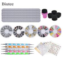 Biutee Nail Stone Kit Set 5 Bright Boxes for Nails, 5pcs Nail File, 5p