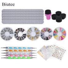 Biutee Nail Stone Kit Set 5 Bright Boxes for Nails, 5pcs Nai