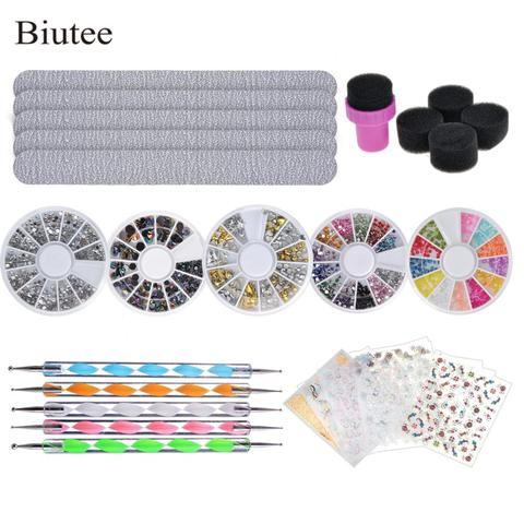 Biutee Nail Stone Kit Set 5 Bright Boxes for Nails, 5pcs Nail File, 5pcs Brushes to Draw on Nails, decoration nail stickers Pakistan