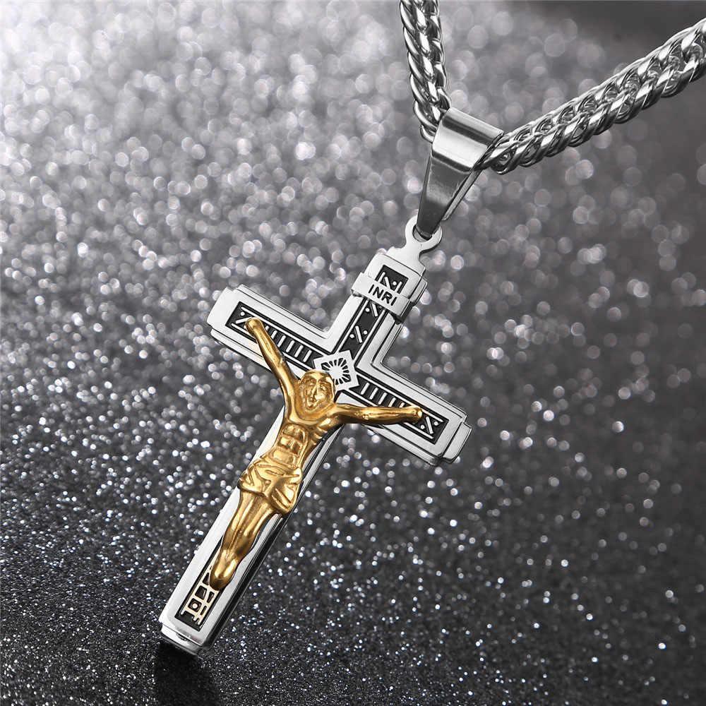 Oro argento INRI Croce Collane con pendente per Gli Uomini In Acciaio Inox Gesù Preghiera Maschio Christian Fortunato Accessorio