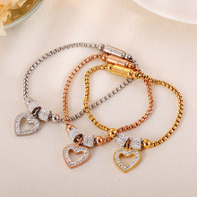 Classic Magnet Bracelet For Women Stainless Steel Crystal Heart Hollow Out Charm Bracelets Rose Gold Color Wristband Gift New classic heart pattern bracelet for women