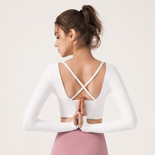 Women Yoga Shirt Long Sleeve Back Cross Sweat Shirt Yoga Tank Top with Pads Jogger Running Casual Workout Shirt Sportswear active scoop neck cross back yoga tank top for women