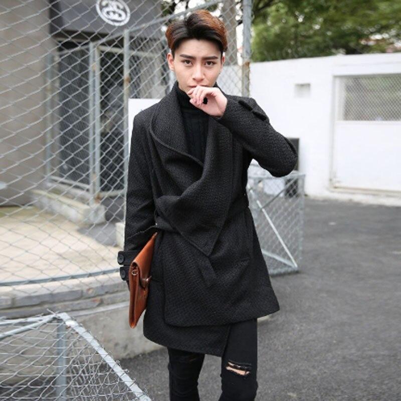 Homens outono inverno estilo Coreano de slim casaco de casaco de homem lã de boa qualidade do vintage da moda casaco cardigan ca