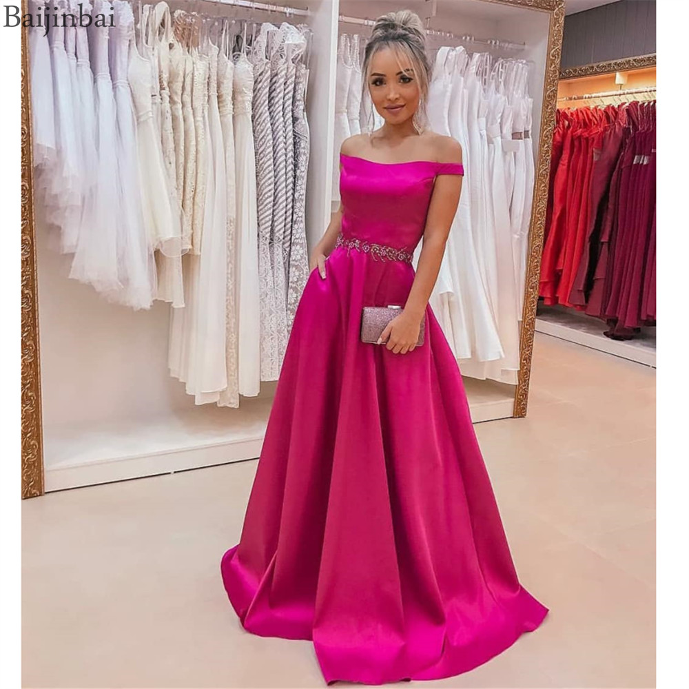 Baijinbai Vestidos De Fiesta Satin Evening Dress With Beading Pockets Fuchsia Formal Dresses Women's Elegant Party Prom Gowns
