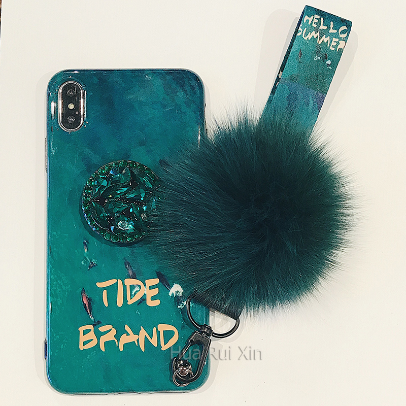 For iPhone 6 6s 7 8 X XS MAX XR For Huawei P10plus p20 p20pro nova5 nova5pro Emerald chain heart Bracelet shell phone case