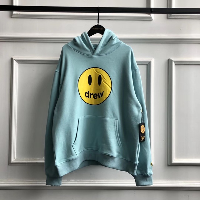 FW Drew House Solid Color Hoodies Men Women Couples Drew Smile Face Printed Embroidery Justin Bieber Hoody Sweatshirts Men