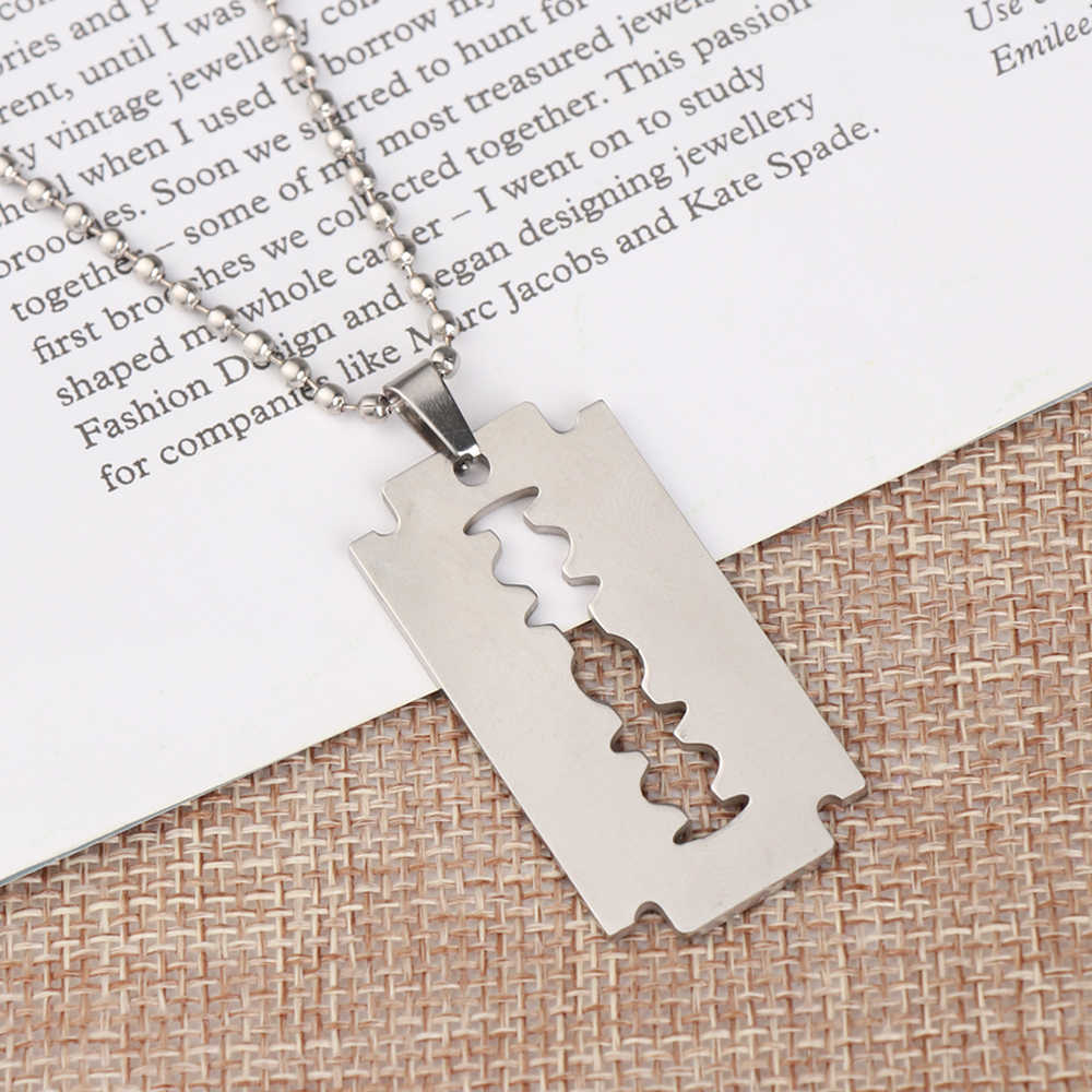 1Pc Newv Unisex Razor Blade Shaped Stainless Steel Pendant Hip Hop Punk Street Unique Dogtag Necklace Jewelry Accessories