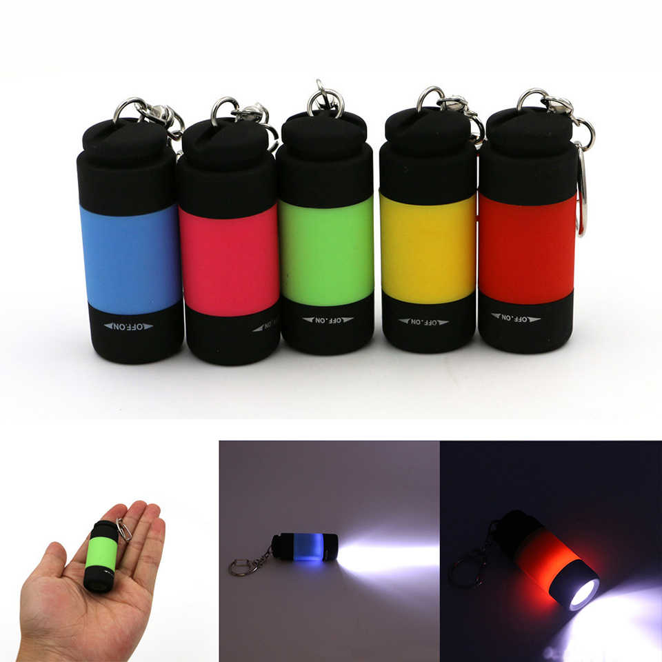 mini rechargeable keychain flashlight Outdoors Waterproof Built-in Battery USB