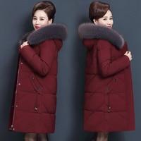 Plus Size 7XL 8XL Middle Aged Winter Jacket Women Hooded Fur Collar Parka Long Womens Down Cotton Coat Women Warm Overcoat C5865