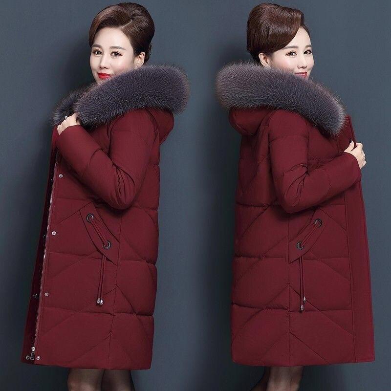 Большие размеры 7XL 8XL зимняя куртка среднего возраста Женская парка с меховым воротником и капюшоном Длинная женская пуховая хлопковая куртка женское теплое пальто C5865
