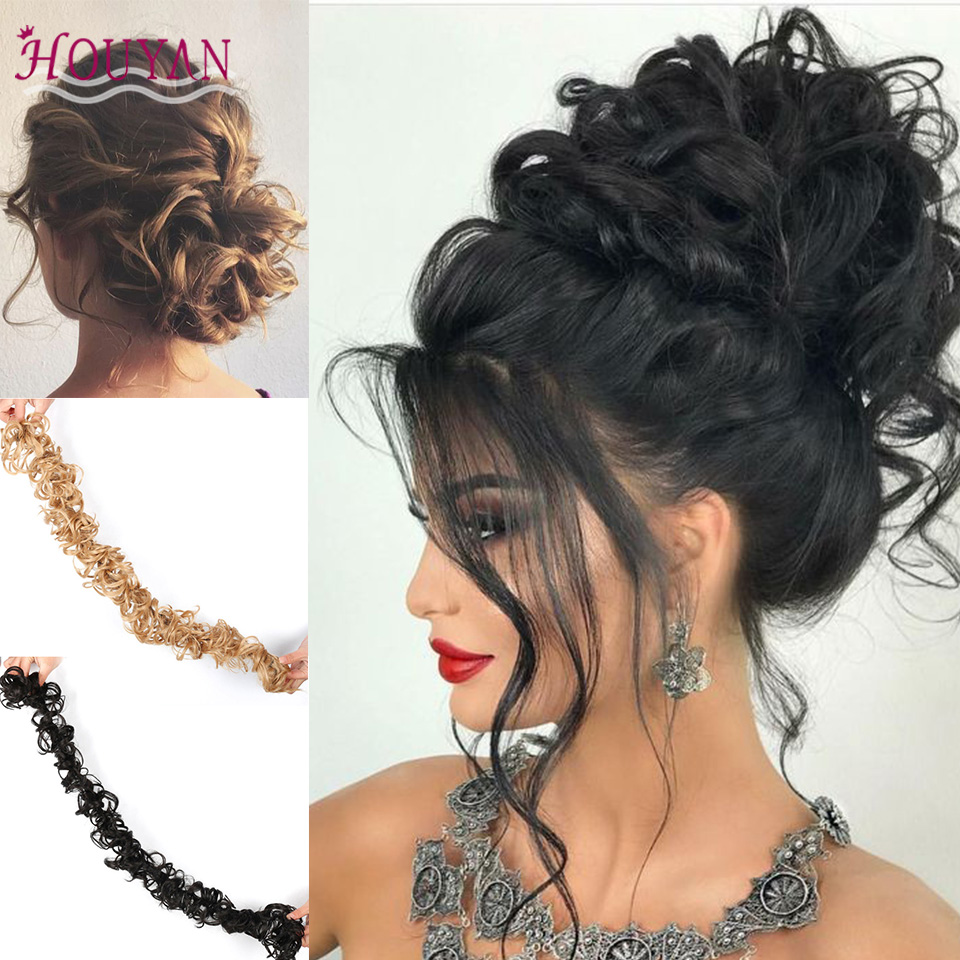 HOUYAN Synthetic Chignons Women Long Curly Chignons Hair Extensions Fake Hair Pieces Heat Resistant Scrunchie Hair Accessories