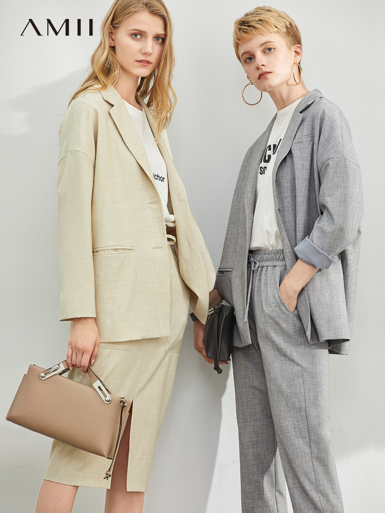 Amii Autumn Office Lady Two-Piece Set Suit Women Elegant Solid Loose Turn Down Collar Blazer And Long Pants 11940176