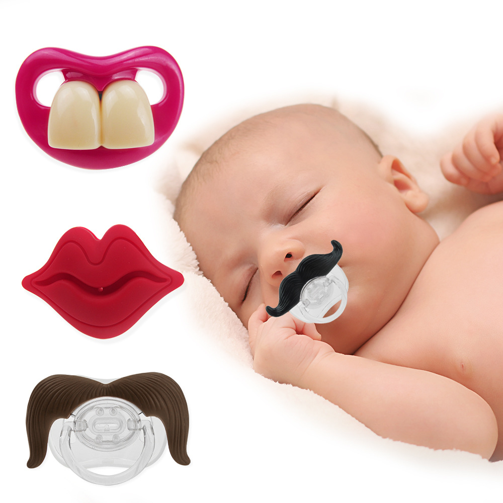 2020 New Baby Pacifier Beard Teeth Red Lip Silicone Nipple Infant Appease Nipple Fashion Cute Baby Gel Nipple For Baby Gifts