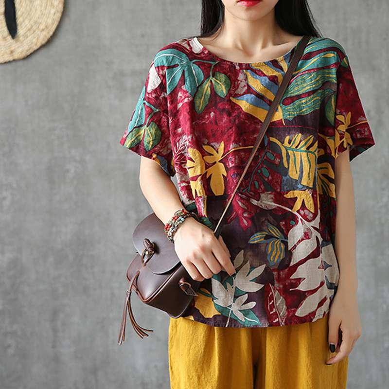 Stylish Printed Tunic Women's Summer Blouse ZANZEA 2021 Casual Short Sleeve Tee Shirts Female O Neck Blusas Oversized Chemise