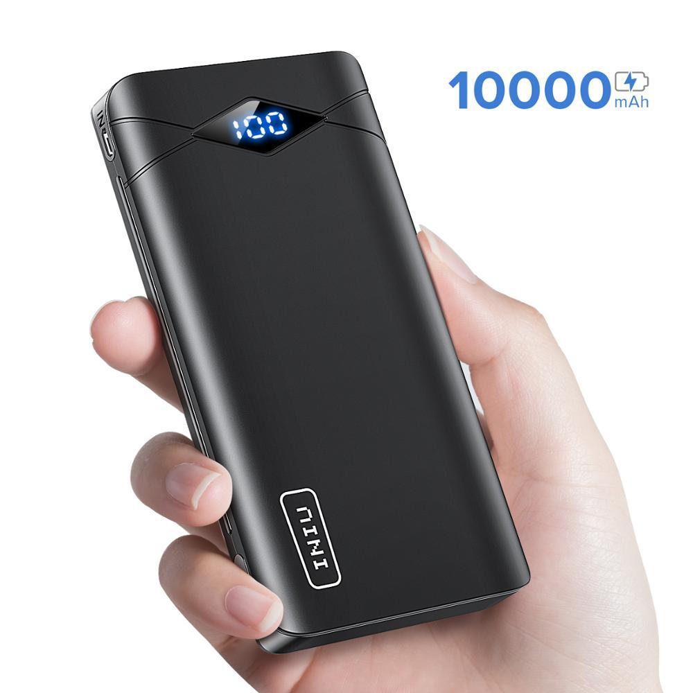 Banco de energía LED INIU 3A 10000mAh cargador portátil Dual USB para iPhone Xiaomi mi paquete de batería externa poverbank