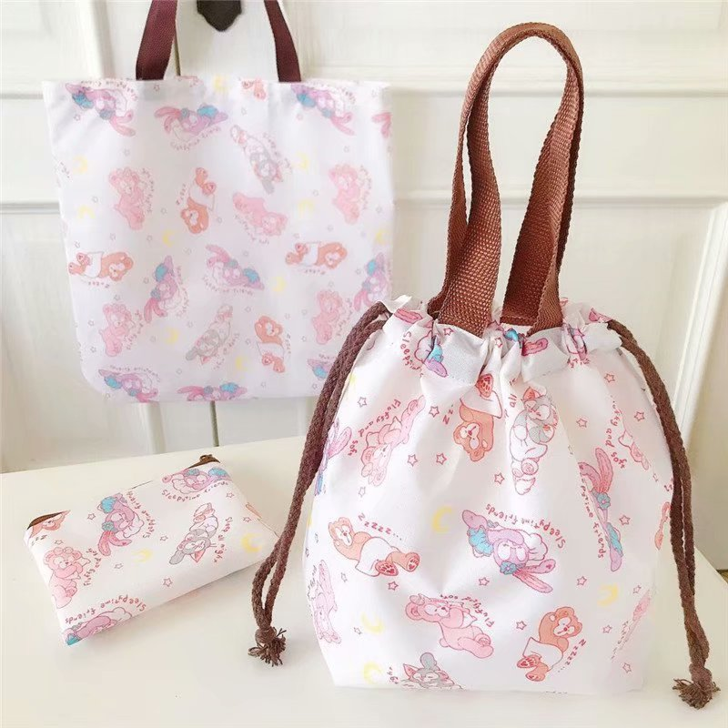 Cute Cartoon Duffy Stelalou Rabbit Makeup Bag PVC Waterproof Drawstring Cosmetic Bag For Make Up Pouch Travel Toiletry Bags