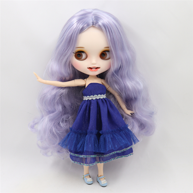 Blyth nude ICY BJD Carved lips Open mouth Matte customized face Purple hair 1/6 Joint body ICY bjd DIY toy girl gift