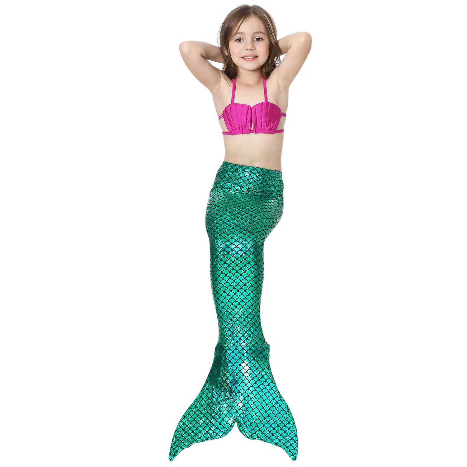 Little Mermaid Tails for Swimming Costume Mermaid Tail Cosplay Girls Swimsuit Kids Children Swimmable suit Monofin 6