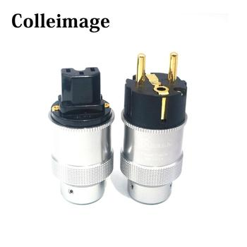 Colleimage Hi-End Krell Gold Plated EU Power Plug IEC Audio Connector HiFi AC Power Cord Plugs For Audiophile DIY Mains Cable