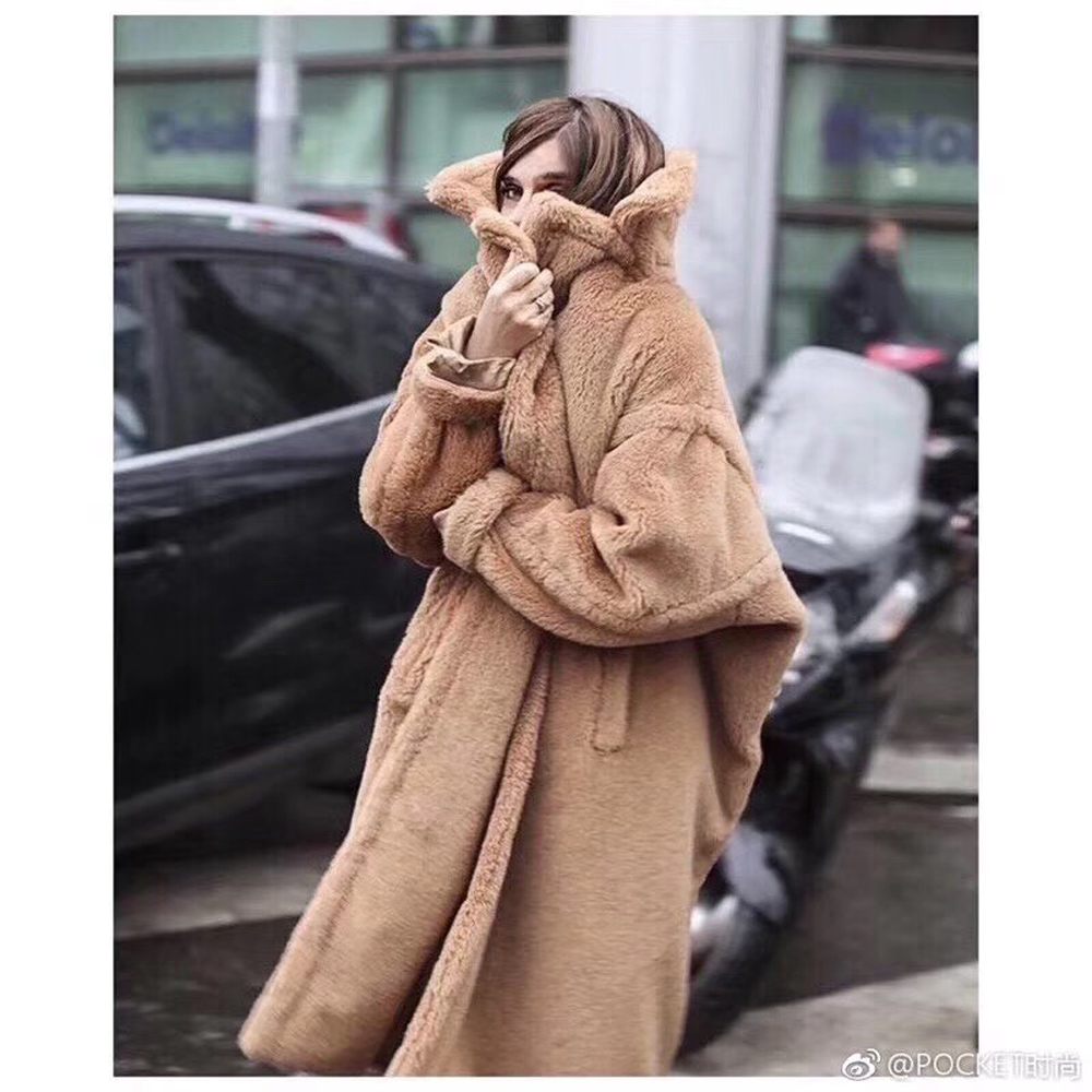 Teddy Coat Russia Real-Sheep-Wool Winter Women Fur Fashion AU1053 Extra-Long 100%Top-Quality title=