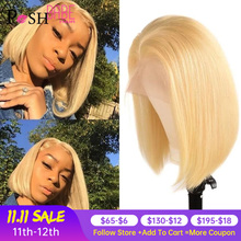 13x1 613 Honey Blonde Short Bob Lace Front Human Hair Wigs For Women Remy Brazilian Straight Hair 1B 613 Ombre colored Lace Wig