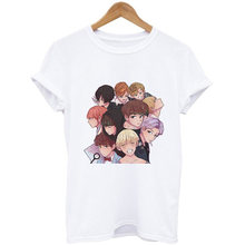 JUNG KOOK Handsome Cartoon Aesthetic Cool RM 지민 화이트 핑크 Tshirt Streetwear Vogue Tee 여성 하라주쿠 한국식 티셔츠(China)