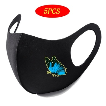 5pcs sponge respirator dust mask kn90 protection level dust mask against dust particulates cement dust pm2 5 respirator mask 5Pcs Washable Earloop Face Breathing Mask Cycling Anti Dust Environmental Mouth Mask Respirator Black Butterfly Print Mask