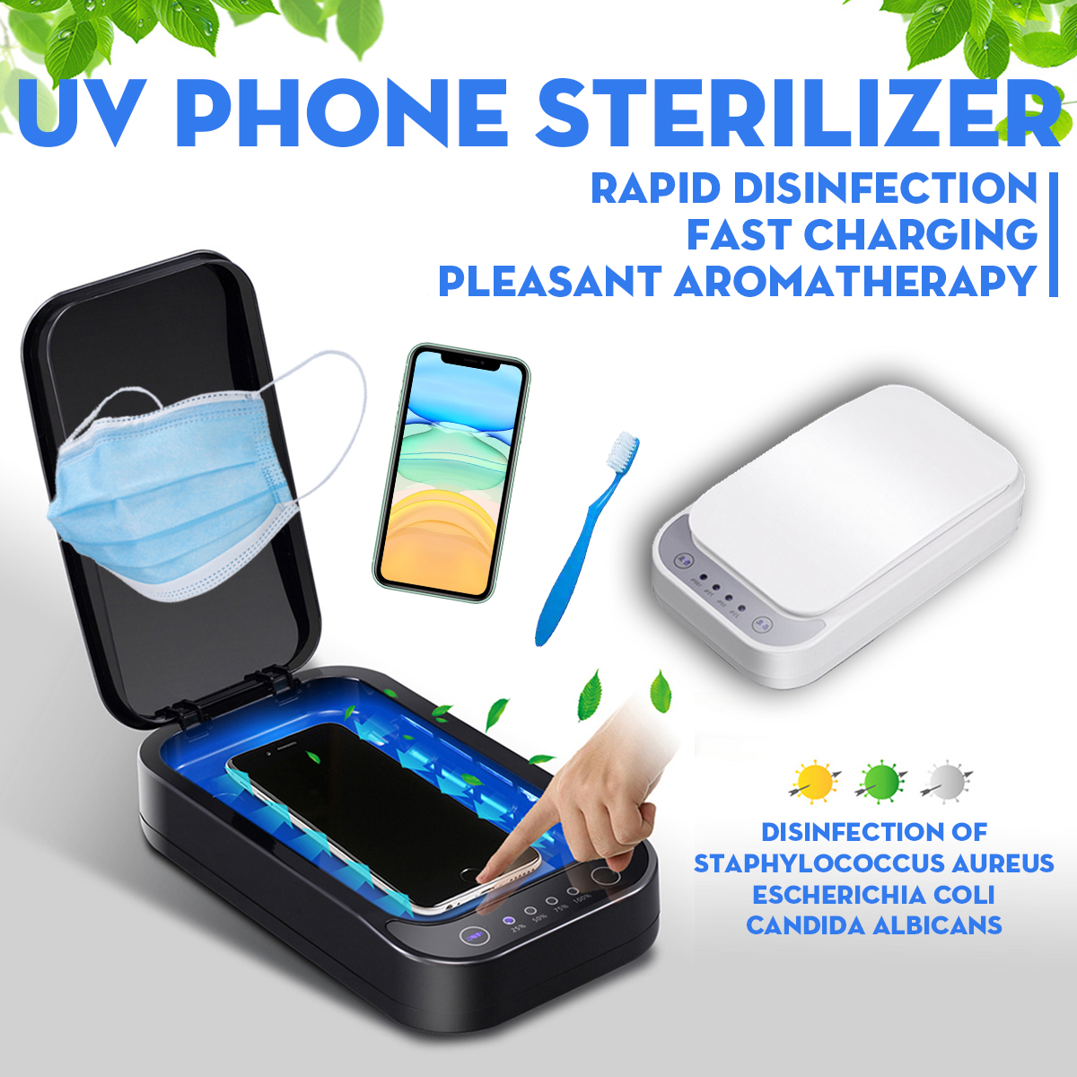 5V UV Phone Sterilizer Box Cleaner Personal Sanitizer Disinfection Cabinet With Aromatherapy Esterilizador+ Wireless Charging