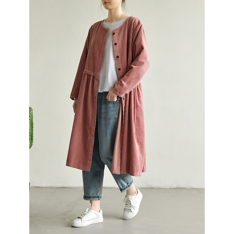 Spring Summer Women Loose Plus Size All-match Long Soft Comfortable Coduroy Cotton Coats   Trench
