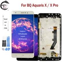 Tela lcd com moldura para bq aquaris, digitalizador de 5.2 polegadas, tela lcd com moldura para aquaris x/x pro xpro, sensor de toque montagem para bq x tela completa