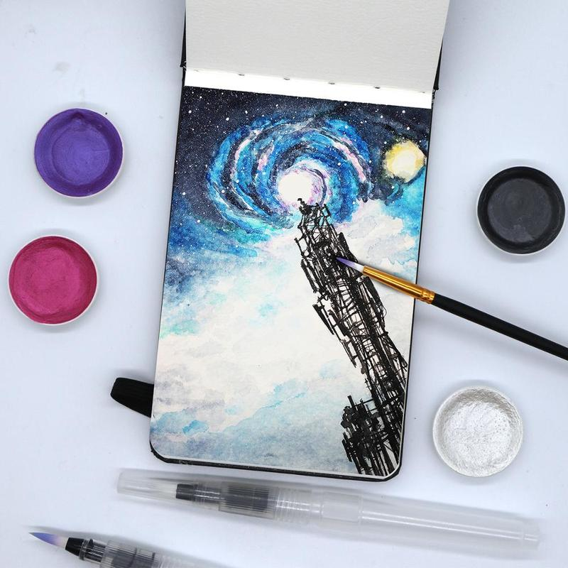 24 Sheets Notebook Watercolor Book Pad Hand-Painting Sketchbook Water Color Stationery Art Supplies Sketch Book 300g/m2 A6 Size