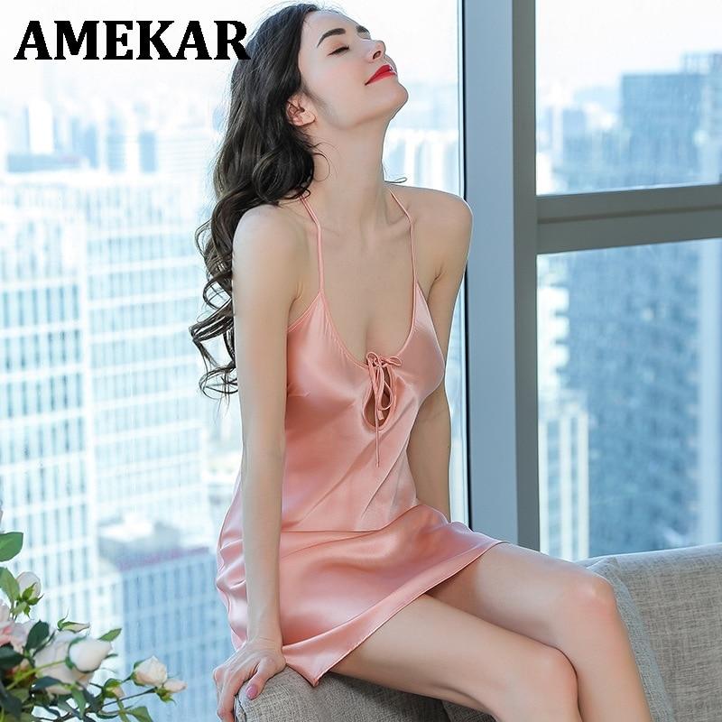 Silk sexy Nightgown ladies female summer V-neck sexy backless  2021  silk mulberry sexy women nightdress