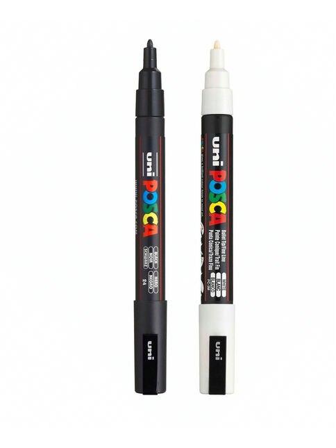 Uni Posca PC-1M/3M/5M Paint Art Marker Pens - White/Black Color Set