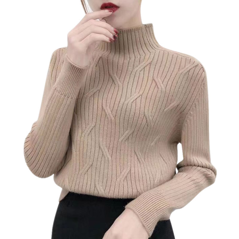 2020 Autumn Winter New Solid Color Women's Sweater Korean Style Turtleneck Long Sleeves Knit Pullover
