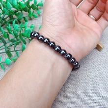 1 шт. унисекс роскошный браслет для похудения потеря веса круглый черный камень магнитотерапия браслет здоровье