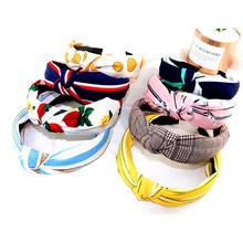 Opaska do włosów w stylu boho Top Knot Turban Vintage elastyczna opaska na głowę opaski akcesoria opaska dla kobiet dziewczynki drukuj stroik tanie tanio BANGUO CN (pochodzenie) COTTON WOMEN Dzieci SQM05 Moda Nakrycia głowy Print Plaid Striped Floral