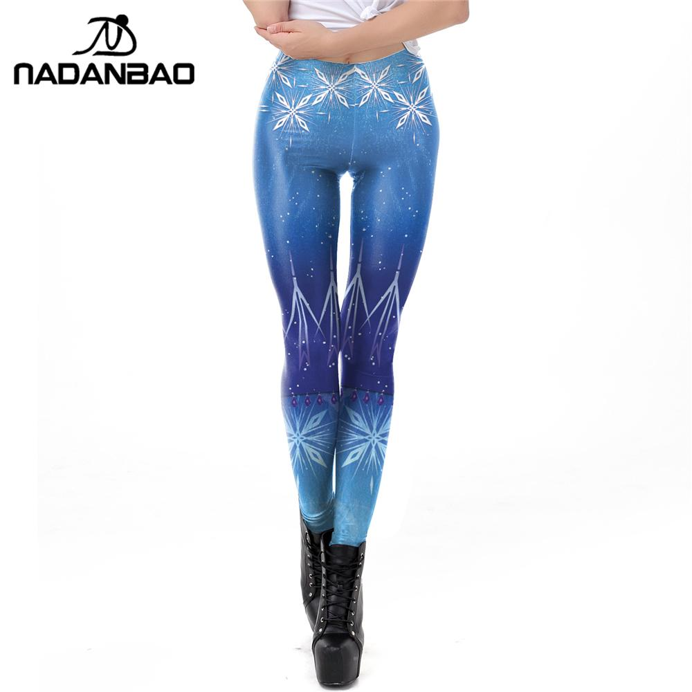 NADANBAO Princess Elsa Leggings Snow Printing Workout Leggins For Women Blue Fitness Pants Elastic Slim Mid-Waist Legins