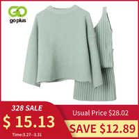 GOPLUS, chándal de invierno para mujer, Conjunto de dos piezas, suéter de cuello redondo informal para mujer, minivestido con cuello en V, Conjunto femenino